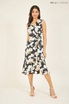 Mela London Floral Satin Wrap Effect Midi Dress