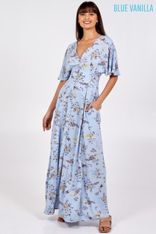Blue Vanilla Kimono Slv Button Through Maxi Dress