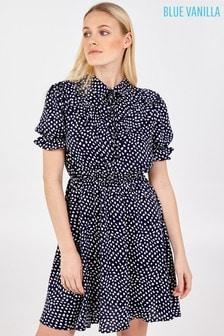 Blue Vanilla Puff Short Sleeve Elasticated Waist Dress