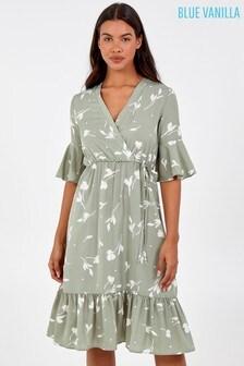 Blue Vanilla Wrap Front Frill Sleeve Midi Dress