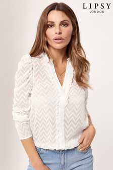 Lipsy Puff Sleeve Button Through Blouse