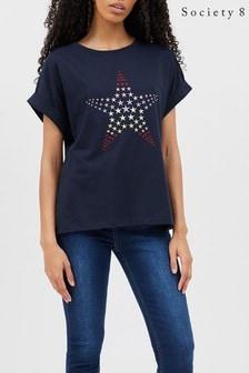 Society 8 Rainbow Star Embroidered T-shirt