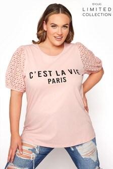 Yours Limited Anglaise Puff Sleeve C'Est La Vie Paris Tee