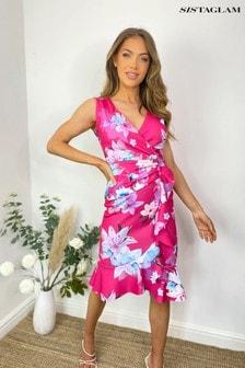 Sistaglam Floral Wrap Midi Dress