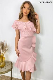 Sistaglam Lace Bardot Midi Dress