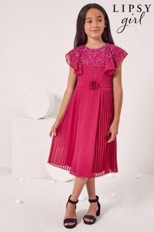 Lipsy Ruffle Sequin Pleated Dress
