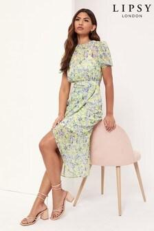 Lipsy Printed Puff Sleeve Midi Dress