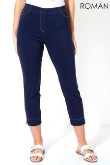 Roman Stitch Detail Cropped Stretch Trousers