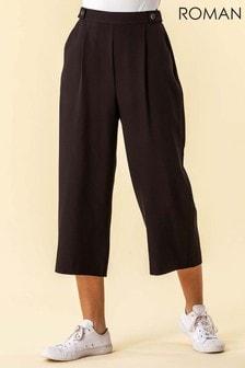 Roman Button Detail Culotte Trousers