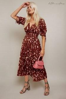 Little Mistress Carly Rust Print Wrap Midi Dress With Tie Sleeve