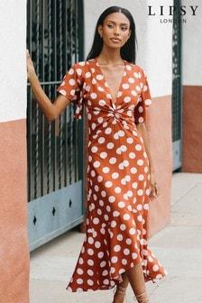 Lipsy Printed Twist Front Midi Dress