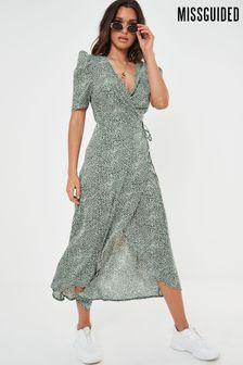 Missguided High Low Puff Sleeve Wrap Midi Dress