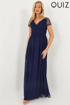 Quiz Wrap Embellished Maxi Dress
