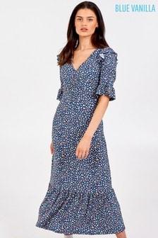 Blue Vanilla V Neck Rushed Front Midi Dress