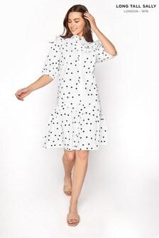 Long Tall Sally Puff Sleeve Polka Dot Dress
