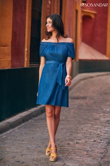 Sosandar Bardot Dress With Pockets