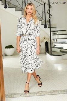 Sosandar Spot Print Shirred Waist Midi Dress