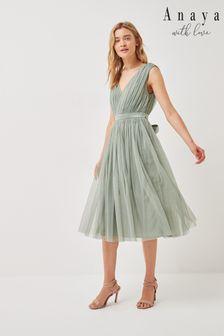Anaya With Love Bow Back Wide Strap Midi Dress
