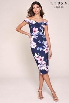 Lipsy Floral Bardot Bodycon Dress