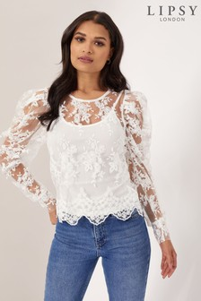 Lipsy Lace Puff Sleeve Top