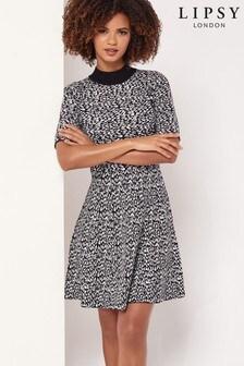 Lipsy Animal Print Skater Knitted Dress