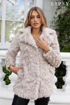 Lipsy Textured Faux Fur Coat
