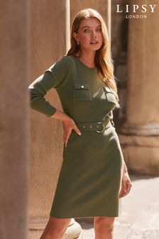Lipsy Knitted Military Dress