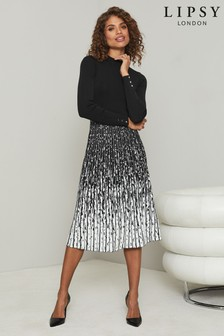Lipsy Long Sleeve Knitted 2 in 1 Pleated Ombre Midi Dress