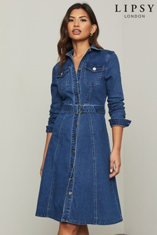 Lipsy Denim Midi Shirt Dress