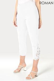 Roman Lace Insert Crop Stretch Trousers