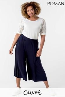 Roman Curve Plain Culotte Trousers