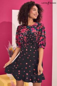 Love & Roses Printed Skater Dress