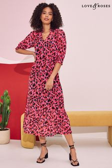 Love & Roses Frill Neck Tiered Midi Dress