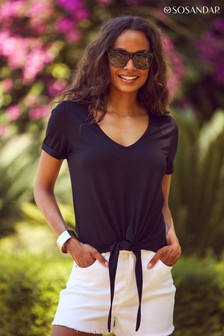 Sosandar Premium Jersey Tie Front T Shirt