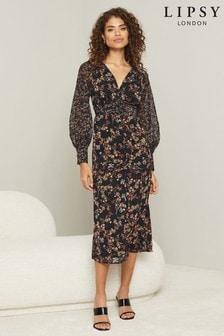 Lipsy Floral Print Ruched Midi Dress