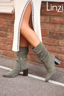 Linzi Linzi Wisteria Khaki Suede Western Style Ruched Boot With Leather Stacked Heel