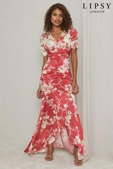 Lipsy Printed V Neck Ruch Midi Dress