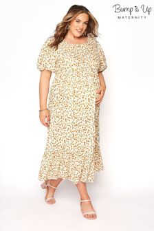 Bump It Up Maternity Floral Puff Sleeve Smock Dress