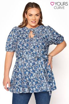 Yours Ditsy Floral Tie Neck Belted Peplum Top