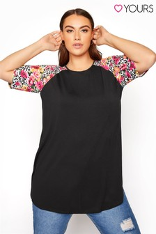 Yours Raglan T-Shirt with Animal Floral Sleeves