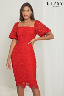 Lipsy Lace Square Neck Puff Sleeve Midi Dress