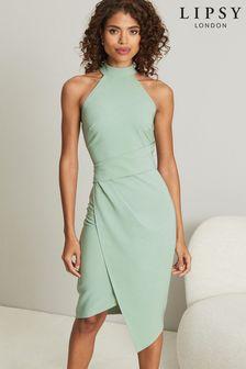 Lipsy Halter Neck Asymmetric Bodycon Dress