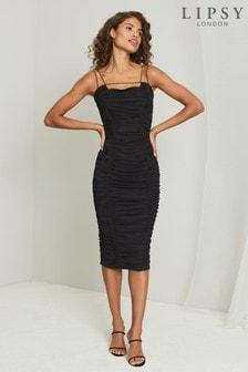Lipsy Mesh Ruched Bodycon Dress
