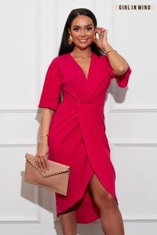Girl In Mind Short Sleeve Wrap Dress