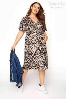 Bump It Up Maternity Animal Print Wrap Dress