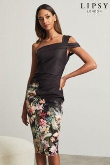 Lipsy One Shoulder Printed Bodycon Dress