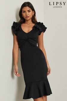 Lipsy Black Double Ruffle Midi Dress