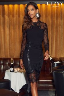 Lipsy Black Long Sleeve Cornelli Embroidered Midi Dress