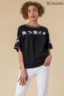 Roman Embroidered Yoke T-Shirt