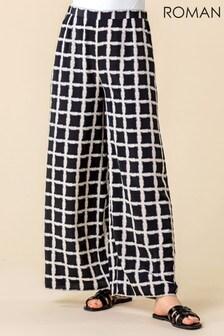 Roman Check Print Wide Leg Trousers